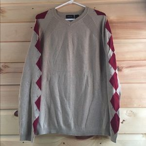 Claiborne Men's V-neck Tan And Maroon Sweater